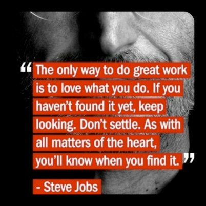 The only way to great work is to love what you do!