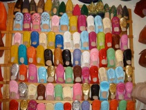 Colorful leather slippers everywhere in the Souks