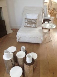 An alternative to a salon table - pieces of woods together! Not always that practical but I like them.