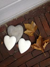 Heart stones in the garden