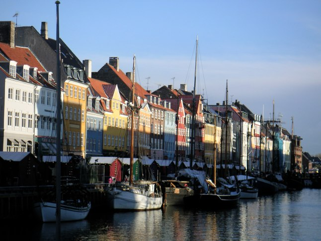 Brightly colored townhouses, Nyhavn, Copenhagen, Denmark