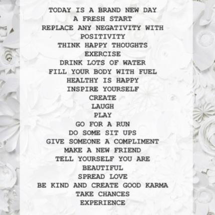 A Brand New Day, A Fresh Start ..